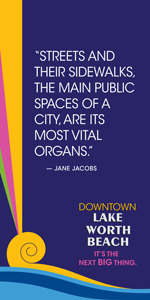 Vacant storefront project window clings - Jane Jacobs quote